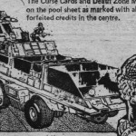 """Judge Dredd """"Killdozer"""" art from the """"Cursed Earth"""" role playing game"""