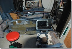 Replacing the Roadmaster wagon interior. A garage full of parts!